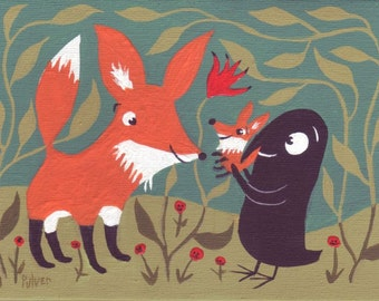 Fox and Crow Art Print - Crow Holds Baby Fox - Folk Animal and Bird Artwork Wall Decor
