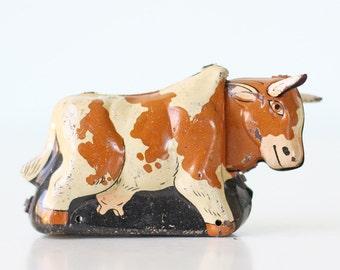 Vintage Cow, Tin Toy Cow, Japan
