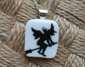 Wicked Witch Halloween Vintage Plate Necklace