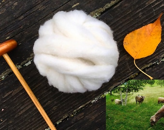 Roving Organic Wool for Spinning and Felting 2 oz.