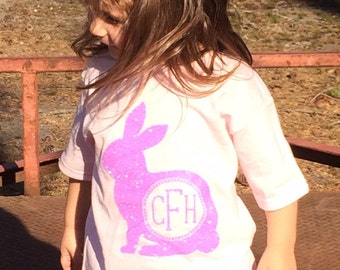 Monogrammed Bunny Easter Shirt or Onese sizes 6 Months thru 4T
