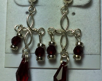 Red Swarovski crystal and silver dangle earrings