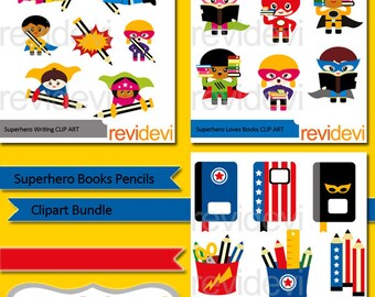 Commercial use clip art / Superhero books pencils clipart bundle, Superhero back to school clipart - digital download