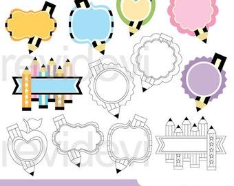 Back to school pencil clipart - digital clip art - tags pencils clipart - instant download, commercial use