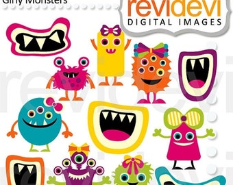 30% OFF SALE Monster grins clipart - Cliparts Girly Monsters 07466
