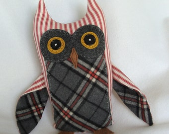Magnus the Great Horned Owl plush fabric sculpture red and cream ticking gray tartan plaid owl plushie