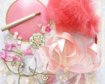 Glamour Girl Grab Bag...AVintage Mirror, Feathers, Millinery Flowers, & Luxe Trims