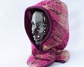 Hooded Cowl in Fuchsia, Purple, and Cream Wool with Silk Lining - Womens Hat, Winter Hat, Cozy Cowl, Hoodie, Ready to Ship, Winter Style