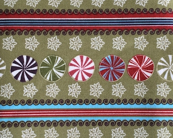 Christmas peppermint fabric - 30 inches x 43 inches - stripe snowflake