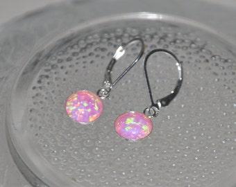 Opal Earrings, Pink Earrings, Dangle Earrings, Sterling Silver, Lever back earwire, 8mm stone, Pink Opal