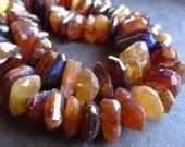 AB Mystic Hessonite Garnet Nuggets beads - semiprecious gemstone - Chunky Organic Nuggets - 4 inches