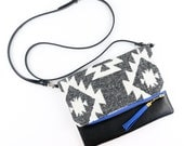 Boho Tassel Clutch in Gray Woven Aztec Tribal Print with Black Vegan Leather and Blue and Gold zipper close