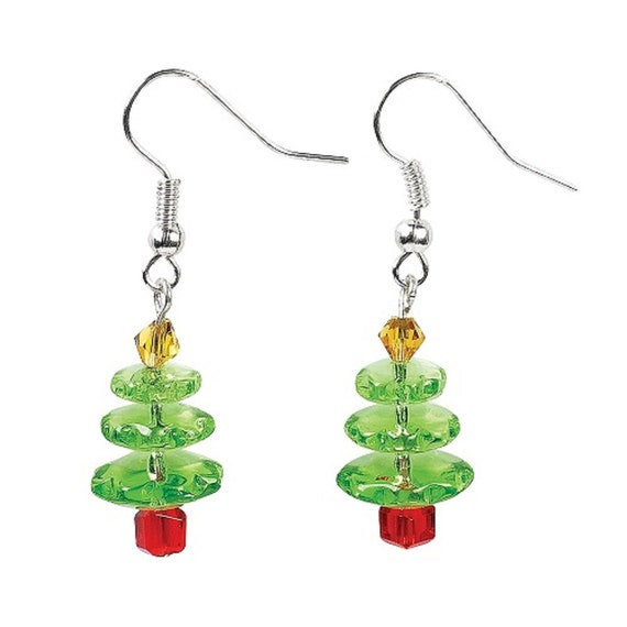 Christmas tree glass earrings