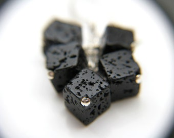 Essential Oil Diffuser Jewelry . Lava Rock Earrings . Cube Earrings . Geology Gifts Rock . Lava Rock Jewelry - Boji Collection