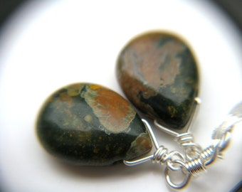 Natural Gemstone Earrings . Dark Green Earrings . Green Stone Earrings . Green Dangle Earrings . Wire Wrapped Earrings - Boa Collection