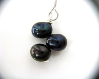 Navy Blue Earrings . Blue Pearl Earrings . Midnight Blue Freshwater Pearl Earrings Wire Wrapped Sterling Silver - Nexus Collection