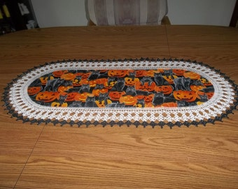 Crochet Halloween, Table Runner, Black Cats Pumpkins,  Halloween Centerpiece, Fabric Center, Crocheted Edging, Table Topper, Decoration