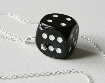 Dice Charm Necklace Sterling Silver Chain Black