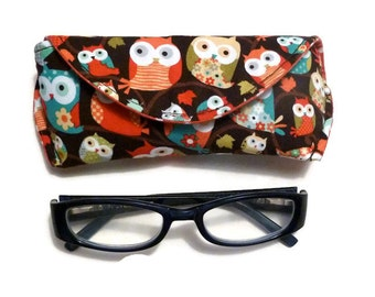 Reading Eyeglass or Sunglass Case with Magnetic Closure Owl Eyeglass Holder