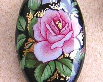 Japanese Tensha Single Pink Rose on Black Focal Bead 32x20x8mm