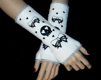 Skulls and Bows EGL Lolita White Fleece Arm Warmers MTCoffinz --CLOSEOUT SALE - Ready to Ship