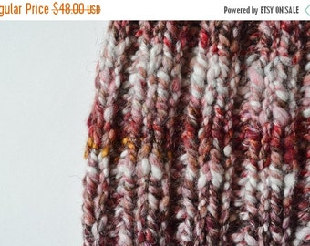 October Sale Traditional Fit Beanie - Hand Knit Hat in Red, Cream, White, Gold, Brown, Copper Sparkle Handspun Yarn. Chunky Knit Handmade Pe