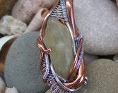 Libyan Desert Glass Heady Wire Wrap Pendant, Sterling Silver, Copper, Libyan Gold Tektite