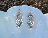 Rainbow Moonstone and Aquamarine Earrings, Dangle, Sterling Silver, Raw Crystal Jewelry, Handmade, One of a Kind