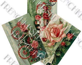 Rose Parade:  Train Bicycle Red Pink and Green Antique French Postcards Printable Digitals (3)