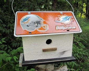 Miamai Dolphins Football License Plate Birdhouse Fully Functional NFL