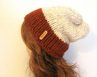 READY TO SHIP / Slouchy Chunky Knit Hat / Aspen / Spice and Wheat