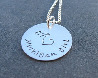 Michigan Girl Necklace Stamped Michigan Jewelry  Michigan Sterling Silver Hand Stamped Jewelry Ready to ship