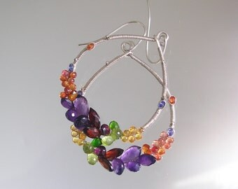 Gemstone Wire Wrapped Teardrop Hoops, 14k Gold Filled Rainbow Earrings with Amethyst, Garnet, Peridot, Amethyst