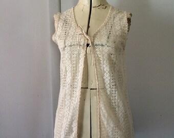 1960's Cream Lace Vest Coverup Festival Wear Small Bohemian Boho Summer