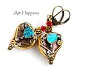 Kathmandu 30: Brass Boho Heart Earrings with Crushed Turquoise Stone from Nepal, Tribal Earrings, Boho Chic, Hipster