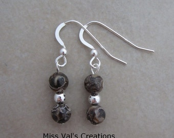 turritella agate sterling silver earrings