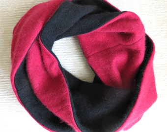 Cashmere Infinity Scarf, Eco Friendly Repurposed Cashmere Sweater Scarf, Red and Black