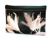 Clutch purse, zipper bag, for her, pouch, bridesmaid gift, WHITE FLOWER