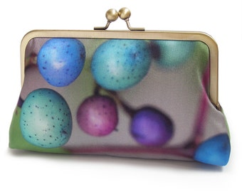 Clutch bag, silk purse, pods, green, teal, blue, BLUE BERRIES