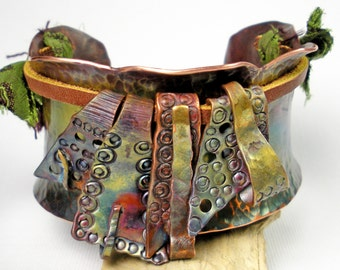 Texture Hammered Copper Cuff, Forged, Stamped Cuff, Rustic, Earthy, Anticlastic, Copper and Leather, Colorful Heat Patina,- Fringed Elements