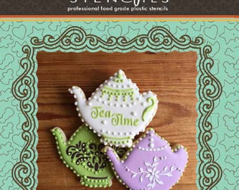 Teapot for Tea Time Tin Cookie Cutter and Stencil Set - Designer Stencils (TS084)