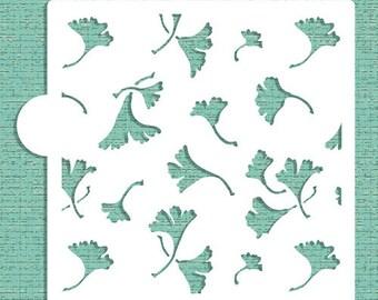 Ginkgo Leaves Allover Cookie, Cupcake & Craft Stencil - Designer Stencils (CM010)