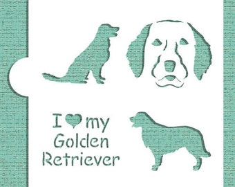 I Love My Golden Retriever Cookie, Cupcake & Craft Stencil - Designer Stencils (CM018)