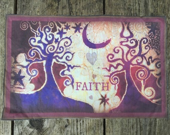 FAITH and Trees Batik Print Patch
