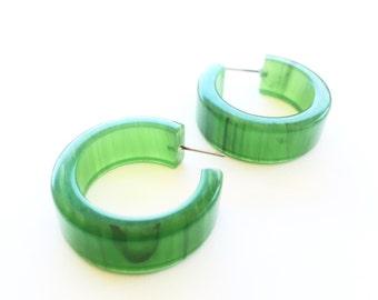 Green Hoops | Jade Green Hoop Earrings | Marbled Wide vintage lucite hoop earrings by Leetie Lovendale