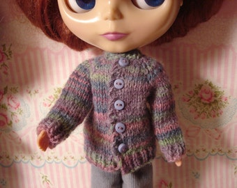 Wool Multicolored Cardigan Sweater and Socks for Blythe, Pullip and vintage Skipper