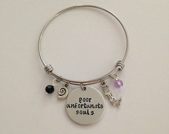 "Disney Little Mermaid bangle bracelet ""poor unfortunate souls"" Ursula Ariel disney jewelry charm bracelet disney villain hand stamped"