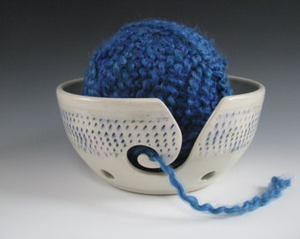 Ceramic Yarn Bowl Pottery Knitting Bowl in White with Jewel Tone Chattering