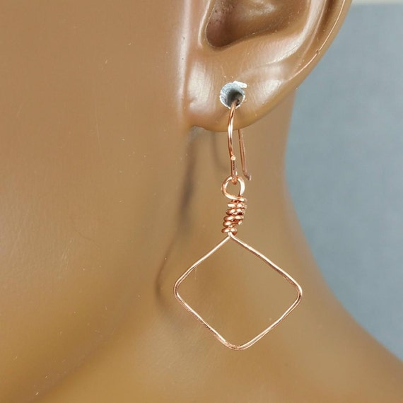 Copper hoop earrings 1.5 inch diamond shaped hand hammered Buy 2 pairs get 3rd pair FREE 833