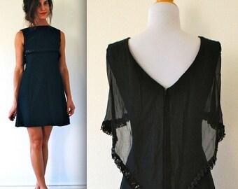 SUMMER SALE / 20% off Vintage 60s Operetta Black Chiffon Sequin and Fringe Trim Mini Dress (size xs, small)